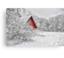 Red Shed In The Snow Metal Print