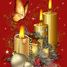 Butterfly and Christmas Candles by LoneAngel