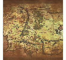 Distressed Maps: Lord of the Rings Middle Earth Photographic Print