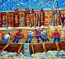 CANADIAN ART URBAN LANDSCAPE PAINTING HOCKEY WINTER SCENE BY CANADIAN ARTIST CAROLE SPANDAU by Carole  Spandau
