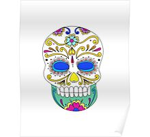 Sugar skull mexican folk art Poster