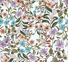 Pink, Blue, Purple Floral Pattern by chesleyjean