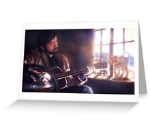 Folk Singer with a Cat Greeting Card