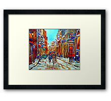 CANADIAN ARTIST PAINTS CANADIAN WINTER CITY SCENE OLD MONTREAL BY CAROLE SPANDAU Framed Print