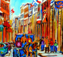 CANADIAN ARTIST PAINTS CANADIAN WINTER CITY SCENE OLD MONTREAL BY CAROLE SPANDAU Sticker