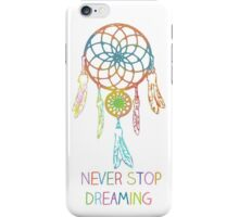 Never Stop Dreaming Dreamcatcher iPhone Case/Skin