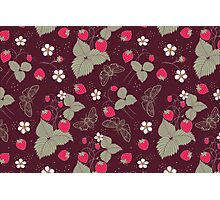 Vintage Berries Leaves Fruit Moth butterfly Wallpaper. Photographic Print