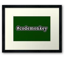 Code Monkey - Hashtag - Black & White Framed Print
