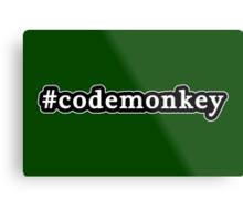 Code Monkey - Hashtag - Black & White Metal Print