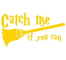 Catch me if you can wizard broomstick magic! Photographic Print
