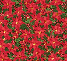 Red poinsettia Christmas pattern by Tatiakost