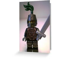 Dragon Knight Minifigure with Scale Mail with Chains, Helmet Closed, & green plume  Greeting Card