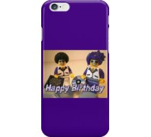 Happy Birthday Greeting Card DJ Clubbing Tru & his Dad Disco Stu (with CD and Record) Minifigs iPhone Case/Skin