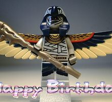 Happy Birthday Greeting Card, with Flying Mummy Minifig (with Custom Staff) by Chillee