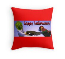 """Happy Halloween"" Custom Halloween Dr Toxic Minifigure Throw Pillow"