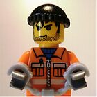 Convict Prisoner Minifig Minifigure with Handcuffs, 'Customize My Minifig' by Chillee