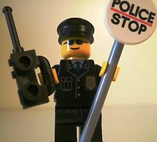 Classic Police Patrol Man Minifigure with Police Stop Sign by Chillee