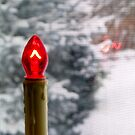 Red Candle Light Christmas Card by Pamela Burger