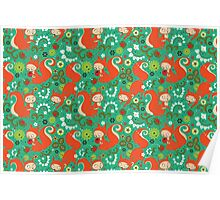 Nutty Squirrel Pattern  Poster