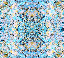 """Psychedelic Symmetrical Abstraction """"Fantazy of Gaia"""" in rose, purple, cyan, blue, white and yellow for iPhone, Samsung, pillows and mugs by FireFairy"""