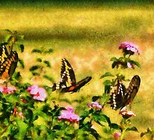 Three Giant Swallowtails - Monet Style by LorriCrossno
