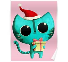 Cute Christmas Cat Poster