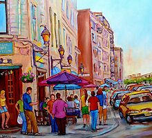 OUTDOOR RESTAURANTS OLD MONTREAL PAINTINGS OF CANADIAN CITIES BY CANADIAN ARTIST CAROLE SPANDAU by Carole  Spandau