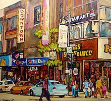 BUSY DOWNTOWN STREET SCENE CANADIAN URBAN SCENE BY CANADAIN ARTIST CAROLE SPANDAU by Carole  Spandau
