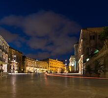 Car Trails on the Elegant Duomo Square in Ortygia, Syracuse, Sicily, Italy by Georgia Mizuleva