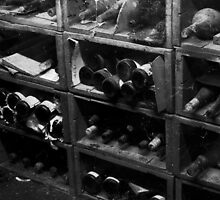Dusty Old Bottles BW by DavidsArt