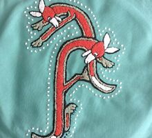 French Knot Embroidery Fox Letter A by Donna Huntriss