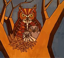 Great horned owl and babies by Plumicorns
