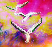 3 birds in flight by Anna  Lewis