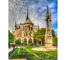 Notre Dame with Garden & Fountain Photographic Print