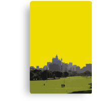 two people and the city Canvas Print