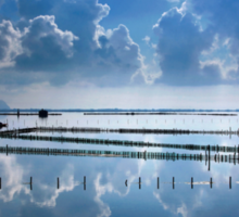 Mirroring the clouds - Messolonghi lagoon Sticker