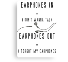 Earphones Music Funny Design Canvas Print