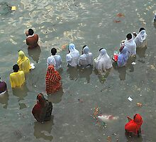 Puja at Holly Ganges  by Joydeepm