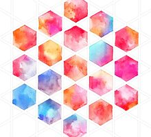 Radiant Hexagons - geometric watercolor painting by micklyn