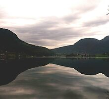 NORWAY: reflection of green hills by Anco