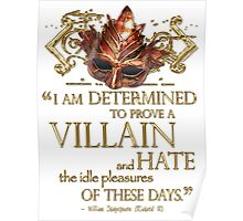 Shakespeare Richard III Villain Quote Poster