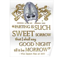 Shakespeare Romeo & Juliet Sweet Sorrow Quote Poster