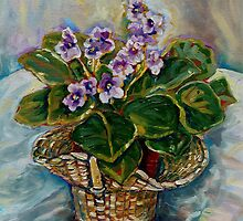 BEST SELLING CANADIAN PAINTINGS FLORAL STILL LIFE AFRICAN VIOLET BY CANADIAN ARTIST CAROLE SPANDAU by Carole  Spandau