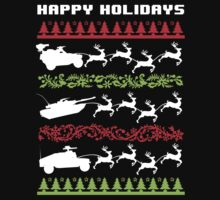 Funny Military Vehicles Being Pulled By Holiday Reindeer T-Shirt and Accessories by Albany Retro