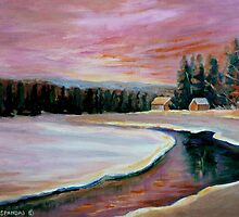CABIN RETREAT CANADIAN ART CANADIAN PAINTINGS BEST SELLING WINTER SCENE BY CANANDAIN ARTIST CAROLE SPANDAU by Carole  Spandau