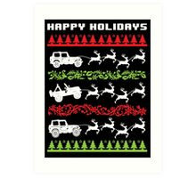 Cool 4 X 4 Happy Holidays Trucks Being Pulled by Reindeer Holiday T-Shirt Art Print