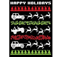 Cool 4 X 4 Happy Holidays Trucks Being Pulled by Reindeer Holiday T-Shirt Photographic Print