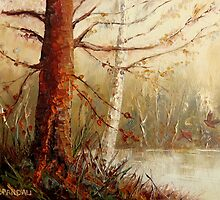 MOST POPULAR CANADIAN PAINTINGS AND PRINTS TREE AT RIVER'S EDGE CANADIAN ART by Carole  Spandau