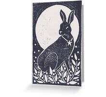 Hare and Moon Lino Print Greeting Card