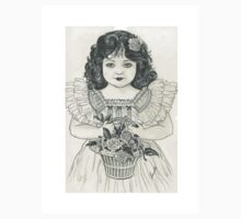 victorian girl with basket of flowers  by francelle  huffman